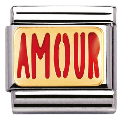 "Nm 030229/11 Звено CLASSIC символ ""AMOUR"" сталь/золото 750 gr.0,08/эмаль"