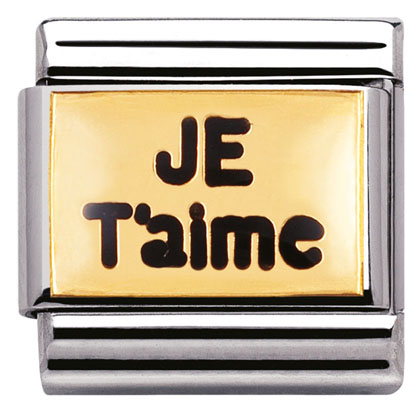 "Nm 030261/02 Звено CLASSIC символ ""JE T AIME"" сталь/золото 750 gr.0,08/эмаль"