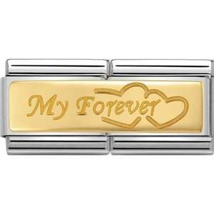"Nm 030710/09 Звено двойное CLASSIC символ ""MY FOREVER"" сталь/золото 750 gr.0,08"